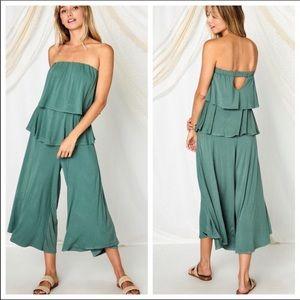 NWT Ces Femme Flattering, Flirty & Fun Sage Green Jumpsuit Sizes M, L